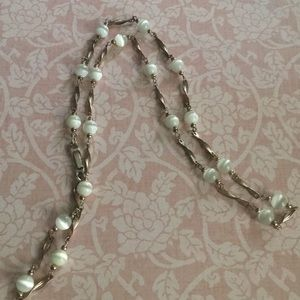 White Iridescent Beaded Necklace